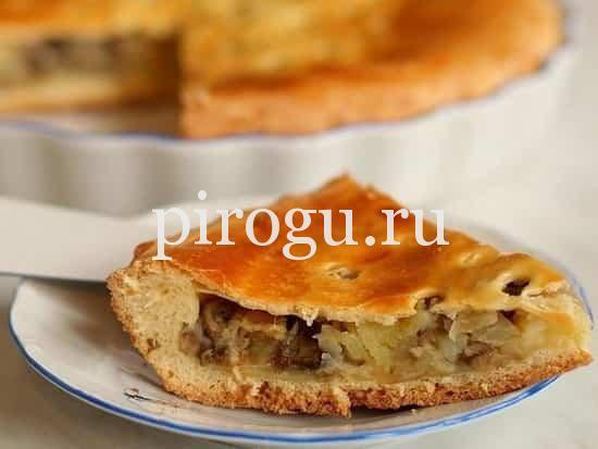 рецепт заливного пирога с грибами и картошкой