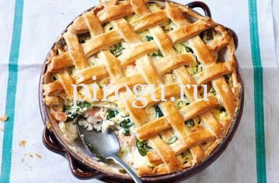 пирог с горбушей из слоеного теста рецепт с фото