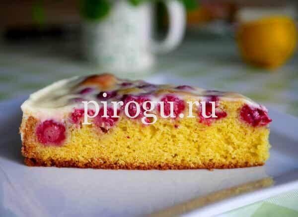Пирог с малиной из полбяной муки