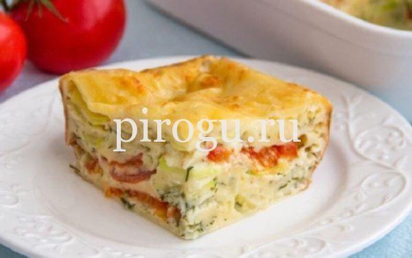 Пирог с кабачками, помидорами и творогом