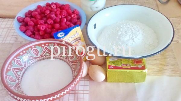 Пирог с малиной из песочного теста с заливкой - ингредиенты