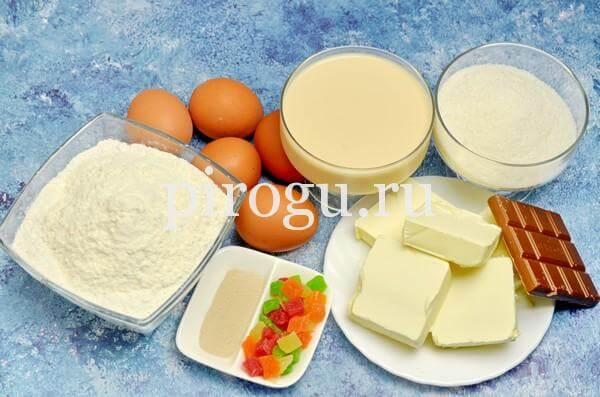 Кулич с шоколадной глазурью: ингредиенты